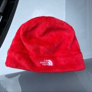 The North Face Beanie Cap Hat Soft Plush Fuzzy Red
